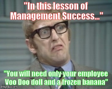 """In this lesson of Management Success..."" ""You will need only your employee Voo Doo doll and a frozen banana"" 