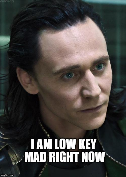 Nice Guy Loki | I AM LOW KEY MAD RIGHT NOW | image tagged in memes,nice guy loki | made w/ Imgflip meme maker