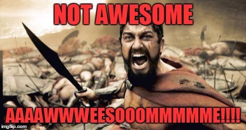 Sparta Leonidas Meme | NOT AWESOME AAAAWWWEESOOOMMMMME!!!! | image tagged in memes,sparta leonidas | made w/ Imgflip meme maker