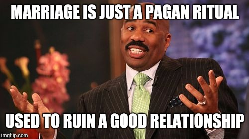 Steve Harvey Meme | MARRIAGE IS JUST A PAGAN RITUAL USED TO RUIN A GOOD RELATIONSHIP | image tagged in memes,steve harvey | made w/ Imgflip meme maker