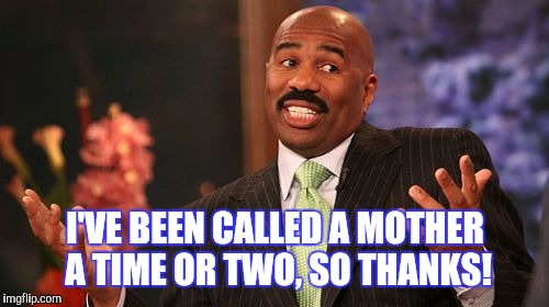 Steve Harvey Meme | I'VE BEEN CALLED A MOTHER A TIME OR TWO, SO THANKS! | image tagged in memes,steve harvey | made w/ Imgflip meme maker