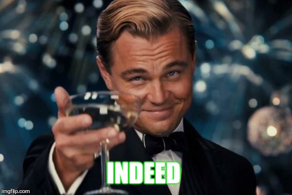 Leonardo Dicaprio Cheers Meme | INDEED | image tagged in memes,leonardo dicaprio cheers | made w/ Imgflip meme maker