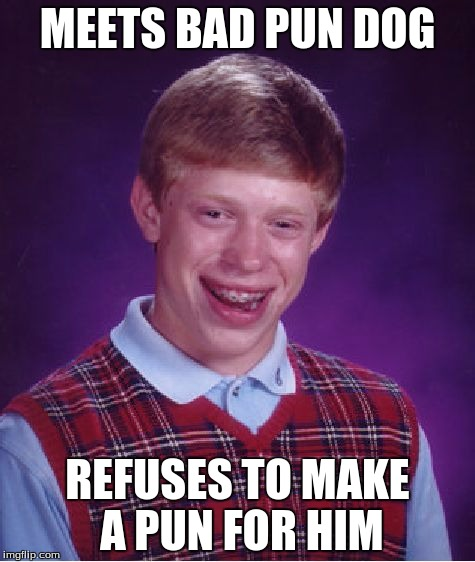 Bad Luck Brian Meme | MEETS BAD PUN DOG REFUSES TO MAKE A PUN FOR HIM | image tagged in memes,bad luck brian | made w/ Imgflip meme maker