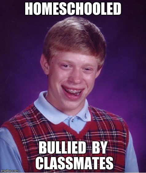 I've seen this online before, I just decided to improve it a bit :). | HOMESCHOOLED BULLIED  BY CLASSMATES | image tagged in memes,bad luck brian | made w/ Imgflip meme maker