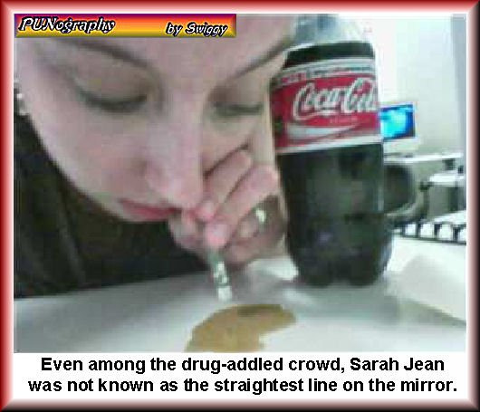 How bad can one be when fellow drug users say WTF? | Even among the drug-addled crowd, Sarah Jean was not known as the straightest line on the mirror | image tagged in coke,snort,memes,punography,human stupidity | made w/ Imgflip meme maker
