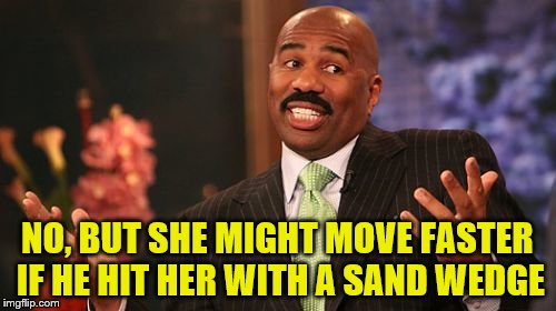 Steve Harvey Meme | NO, BUT SHE MIGHT MOVE FASTER IF HE HIT HER WITH A SAND WEDGE | image tagged in memes,steve harvey | made w/ Imgflip meme maker