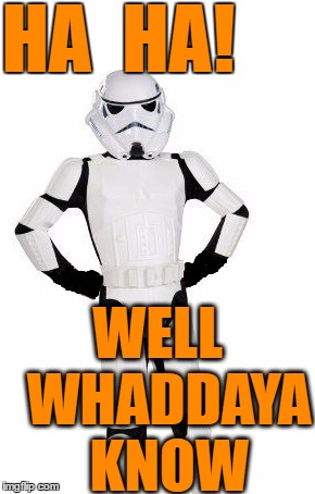 upset stormtrooper | HA  HA! WELL  WHADDAYA  KNOW | image tagged in upset stormtrooper | made w/ Imgflip meme maker