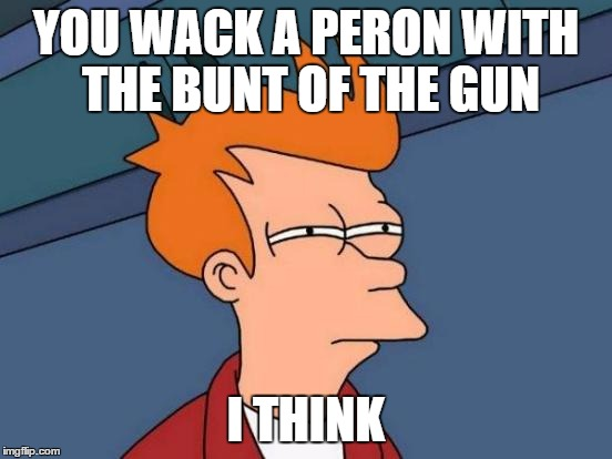 Futurama Fry Meme | YOU WACK A PERON WITH THE BUNT OF THE GUN I THINK | image tagged in memes,futurama fry | made w/ Imgflip meme maker