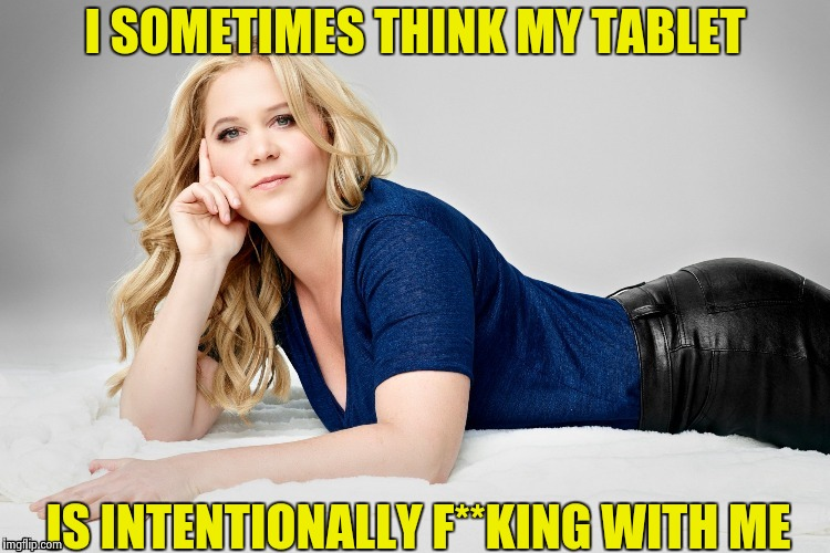 Amy Schumer | I SOMETIMES THINK MY TABLET IS INTENTIONALLY F**KING WITH ME | image tagged in amy schumer | made w/ Imgflip meme maker