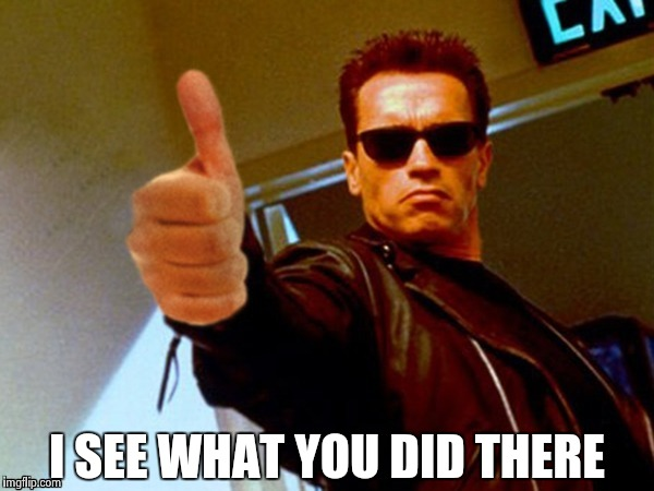 Arnold likes it | I SEE WHAT YOU DID THERE | image tagged in arnold likes it | made w/ Imgflip meme maker