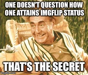 ONE DOESN'T QUESTION HOW ONE ATTAINS IMGFLIP STATUS THAT'S THE SECRET | made w/ Imgflip meme maker