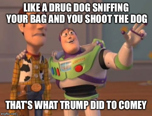 X, X Everywhere Meme | LIKE A DRUG DOG SNIFFING YOUR BAG AND YOU SHOOT THE DOG THAT'S WHAT TRUMP DID TO COMEY | image tagged in memes,x,x everywhere,x x everywhere | made w/ Imgflip meme maker
