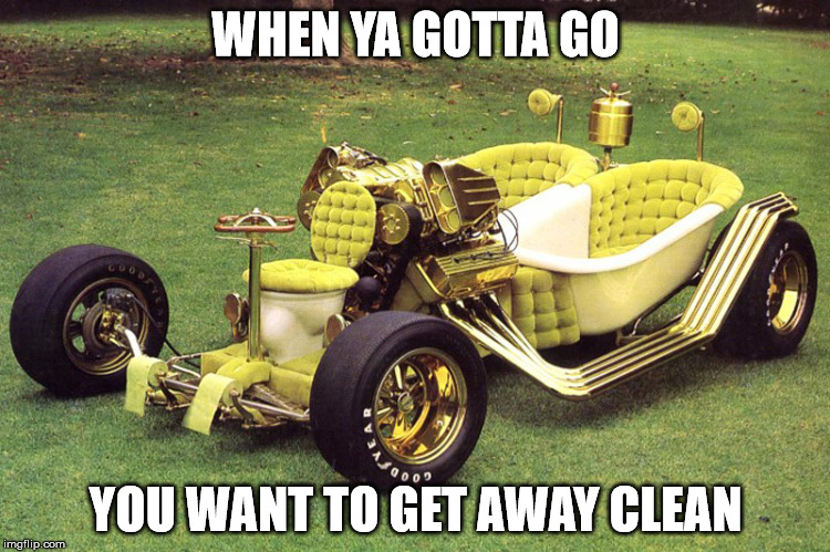 Good running car, but leaves skid marks | WHEN YA GOTTA GO YOU WANT TO GET AWAY CLEAN | image tagged in cuz cars,strange cars,bathroom humor,memes | made w/ Imgflip meme maker