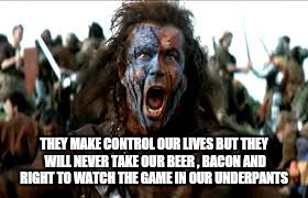 THEY MAKE CONTROL OUR LIVES BUT THEY WILL NEVER TAKE OUR BEER , BACON AND RIGHT TO WATCH THE GAME IN OUR UNDERPANTS | made w/ Imgflip meme maker