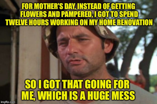 Happy Mother's Day! | FOR MOTHER'S DAY, INSTEAD OF GETTING FLOWERS AND PAMPERED, I GOT TO SPEND TWELVE HOURS WORKING ON MY HOME RENOVATION SO I GOT THAT GOING FOR | image tagged in memes,so i got that going for me which is nice,mothers day | made w/ Imgflip meme maker