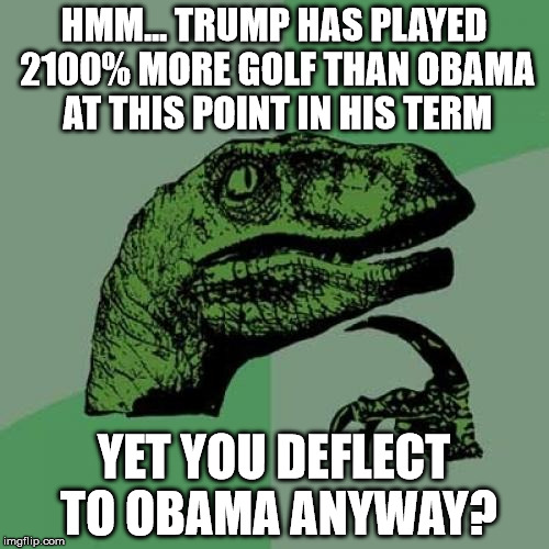 Philosoraptor Meme | HMM... TRUMP HAS PLAYED 2100% MORE GOLF THAN OBAMA AT THIS POINT IN HIS TERM YET YOU DEFLECT TO OBAMA ANYWAY? | image tagged in memes,philosoraptor | made w/ Imgflip meme maker