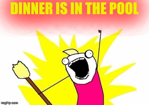 X All The Y Meme | DINNER IS IN THE POOL | image tagged in memes,x all the y | made w/ Imgflip meme maker