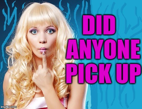 ditzy blonde | DID  ANYONE PICK UP | image tagged in ditzy blonde | made w/ Imgflip meme maker