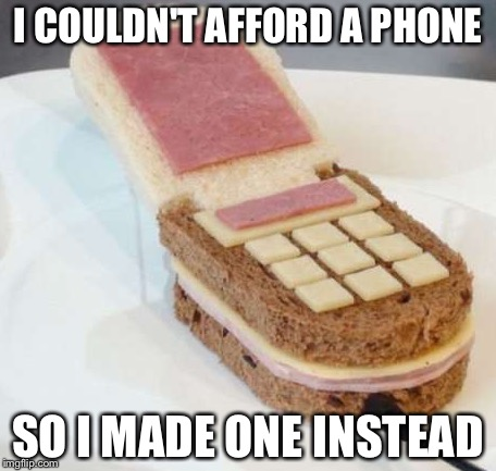 I COULDN'T AFFORD A PHONE SO I MADE ONE INSTEAD | image tagged in food phone,memes,funny | made w/ Imgflip meme maker