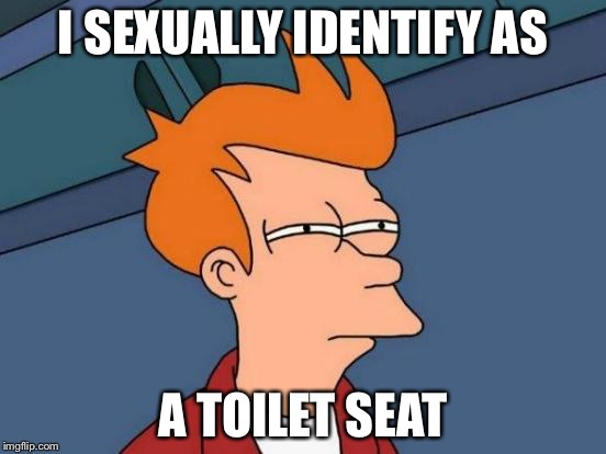 Futurama Fry Meme | I SEXUALLY IDENTIFY AS A TOILET SEAT | image tagged in memes,futurama fry | made w/ Imgflip meme maker