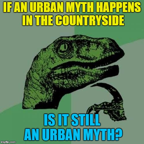 Maybe the countryside is a myth... :) | IF AN URBAN MYTH HAPPENS IN THE COUNTRYSIDE IS IT STILL AN URBAN MYTH? | image tagged in memes,philosoraptor,urban myths,myths,legends,tall tales | made w/ Imgflip meme maker