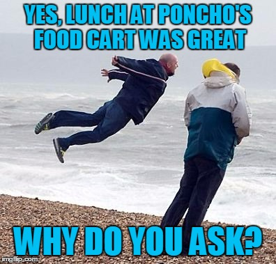 YES, LUNCH AT PONCHO'S FOOD CART WAS GREAT WHY DO YOU ASK? | made w/ Imgflip meme maker