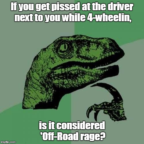 Just sayin'.... | If you get pissed at the driver next to you while 4-wheelin, is it considered 'Off-Road rage? | image tagged in memes,philosoraptor | made w/ Imgflip meme maker