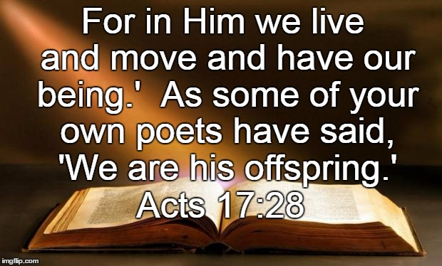 Bible  | For in Him we live and move and have our being.'  As some of your own poets have said, 'We are his offspring.' Acts 17:28 | image tagged in bible | made w/ Imgflip meme maker