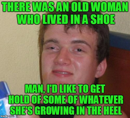 10 Guy nursery rhyme #1 | THERE WAS AN OLD WOMAN WHO LIVED IN A SHOE MAN, I'D LIKE TO GET HOLD OF SOME OF WHATEVER SHE'S GROWING IN THE HEEL | image tagged in memes,10 guy,10 guy nursery rhyme,nursery rhymes | made w/ Imgflip meme maker