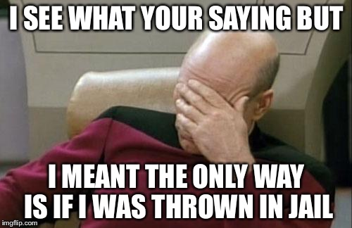 Captain Picard Facepalm Meme | I SEE WHAT YOUR SAYING BUT I MEANT THE ONLY WAY IS IF I WAS THROWN IN JAIL | image tagged in memes,captain picard facepalm | made w/ Imgflip meme maker