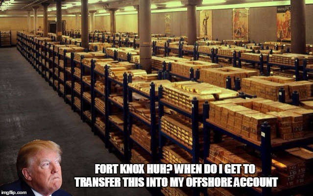 Trump visits fort knox | FORT KNOX HUH? WHEN DO I GET TO TRANSFER THIS INTO MY OFFSHORE ACCOUNT | image tagged in donald trump,trump,american politics,memes | made w/ Imgflip meme maker
