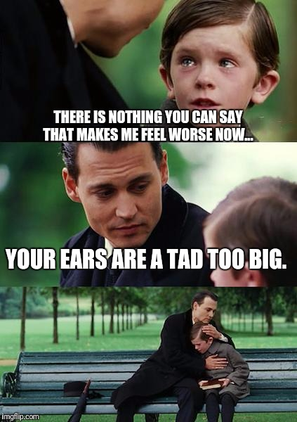 Finding Neverland Meme | THERE IS NOTHING YOU CAN SAY THAT MAKES ME FEEL WORSE NOW... YOUR EARS ARE A TAD TOO BIG. | image tagged in memes,finding neverland | made w/ Imgflip meme maker
