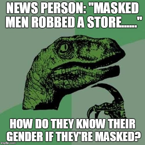 "Philosoraptor Meme | NEWS PERSON: ""MASKED MEN ROBBED A STORE......"" HOW DO THEY KNOW THEIR GENDER IF THEY'RE MASKED? 