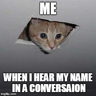 Ceiling Cat Meme | ME WHEN I HEAR MY NAME IN A CONVERSAION | image tagged in memes,ceiling cat | made w/ Imgflip meme maker
