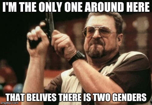 Am I The Only One Around Here Meme | I'M THE ONLY ONE AROUND HERE THAT BELIVES THERE IS TWO GENDERS | image tagged in memes,am i the only one around here | made w/ Imgflip meme maker