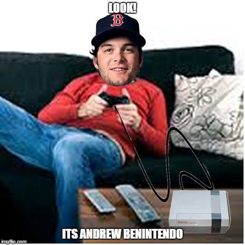 Andrew Benintendo | LOOK! ITS ANDREW BENINTENDO | image tagged in andrew benintendo,andrew benintendi,red sox,nintendo,video games,baseball | made w/ Imgflip meme maker