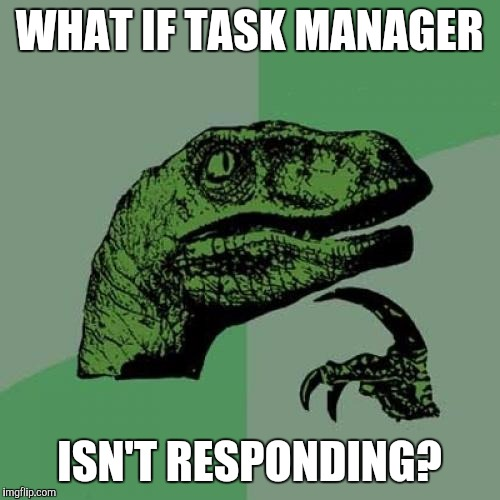 Philosoraptor Meme | WHAT IF TASK MANAGER ISN'T RESPONDING? | image tagged in memes,philosoraptor | made w/ Imgflip meme maker