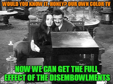 WOULD YOU KNOW IT, HONEY? OUR OWN COLOR TV NOW WE CAN GET THE FULL EFFECT OF THE DISEMBOWLMENTS | made w/ Imgflip meme maker