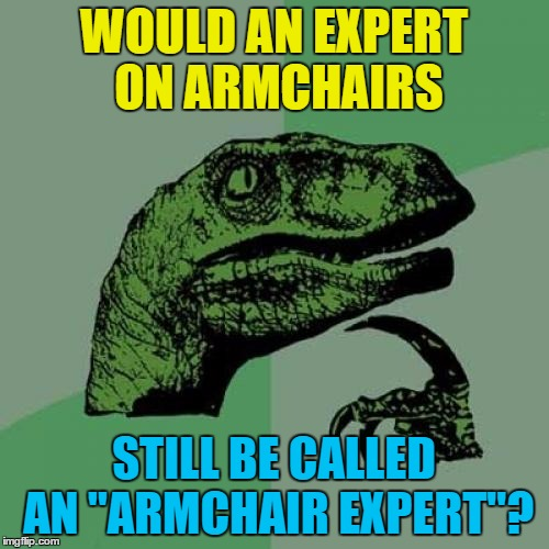 "Philosoraptor Meme | WOULD AN EXPERT ON ARMCHAIRS STILL BE CALLED AN ""ARMCHAIR EXPERT""? 