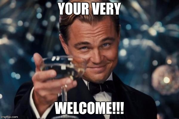 Leonardo Dicaprio Cheers Meme | YOUR VERY WELCOME!!! | image tagged in memes,leonardo dicaprio cheers | made w/ Imgflip meme maker
