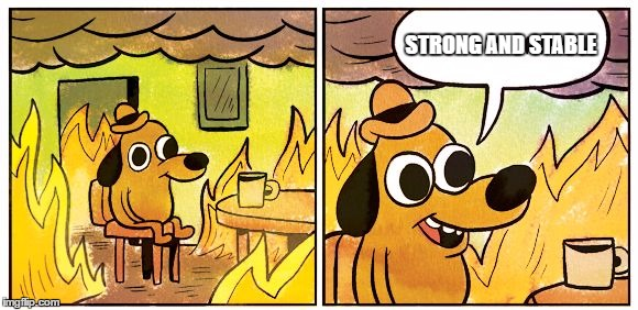 Strong and Stable |  STRONG AND STABLE | image tagged in this is fine dog,theresa may,conservative,tory | made w/ Imgflip meme maker