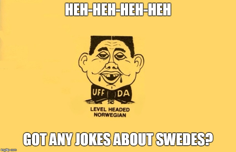Level Headed Norwegian | HEH-HEH-HEH-HEH GOT ANY JOKES ABOUT SWEDES? | image tagged in level headed norwegian | made w/ Imgflip meme maker