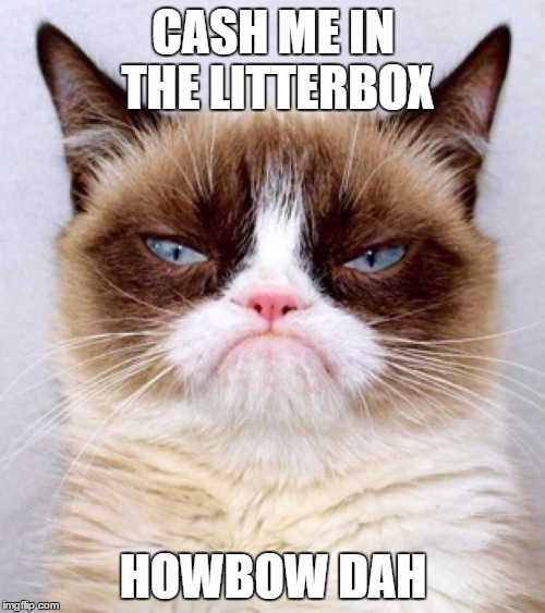 Out of control cat. | CASH ME IN THE LITTERBOX HOWBOW DAH | image tagged in grumpy cat,cash me ousside how bow dah | made w/ Imgflip meme maker