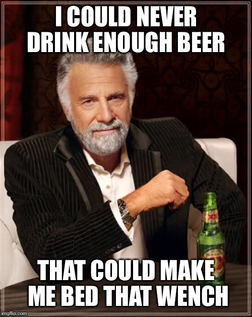 The Most Interesting Man In The World Meme | I COULD NEVER DRINK ENOUGH BEER THAT COULD MAKE ME BED THAT WENCH | image tagged in memes,the most interesting man in the world | made w/ Imgflip meme maker