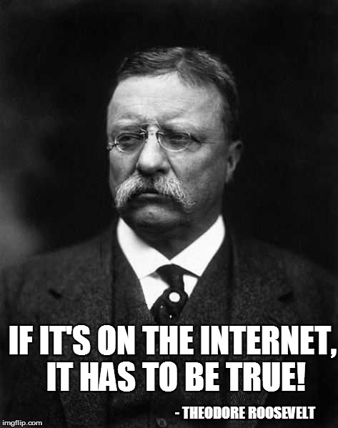 IF IT'S ON THE INTERNET, IT HAS TO BE TRUE! - THEODORE ROOSEVELT | made w/ Imgflip meme maker