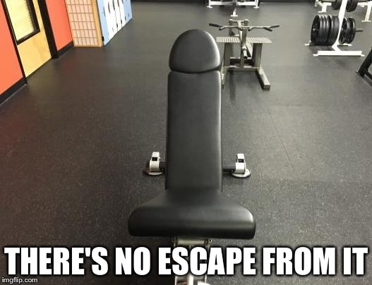 THERE'S NO ESCAPE FROM IT | image tagged in gay gym | made w/ Imgflip meme maker