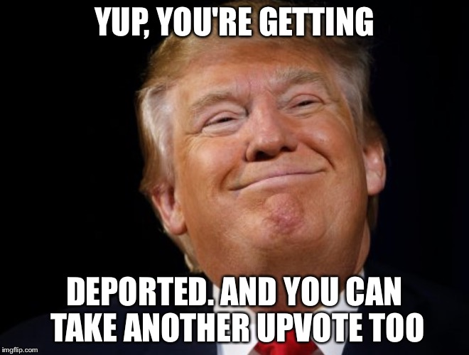 Donald's trump | YUP, YOU'RE GETTING DEPORTED. AND YOU CAN TAKE ANOTHER UPVOTE TOO | image tagged in donald's trump | made w/ Imgflip meme maker