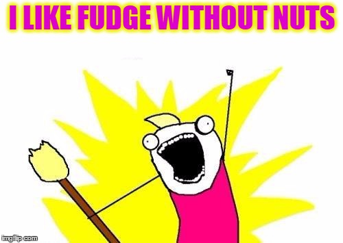X All The Y Meme | I LIKE FUDGE WITHOUT NUTS | image tagged in memes,x all the y | made w/ Imgflip meme maker