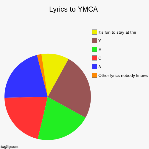 Lyrics to YMCA | Other lyrics nobody knows, A, C, M, Y, It's fun to stay at the | image tagged in funny,pie charts | made w/ Imgflip pie chart maker