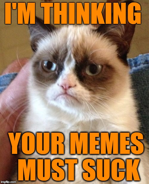 Grumpy Cat Meme | I'M THINKING YOUR MEMES MUST SUCK | image tagged in memes,grumpy cat | made w/ Imgflip meme maker